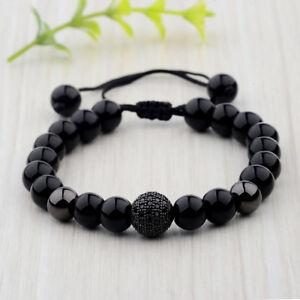 Fashion-Men-039-s-Bright-Zircon-Micro-Pave-Black-Natural-Stone-Round-Beaded-Bracelet