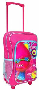 CHILDREN-039-S-LARGE-PREMIUM-TROLLS-TROLLEY-BAG-BACKPACK-SUITCASE-NEW