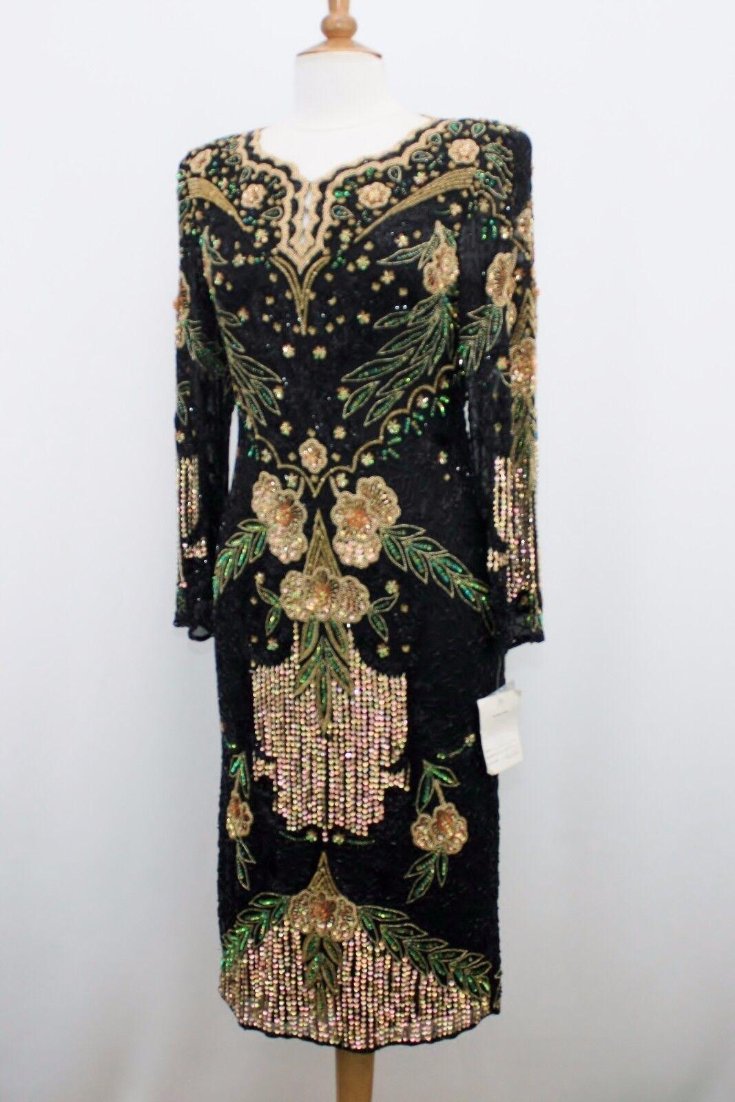 Jasdee Vintage Dress Length Length Length 45  Inch Hand Work Bead & Sequins On Silk Style 1174 3c89d9
