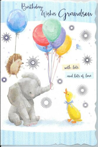 T4 GRANDSON BIRTHDAY CARD **BABY ELEPHANT**1ST CLASS POST**9 X 6 INCH**