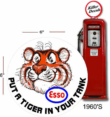 "(ESSO-3) 6"" 1960'S ESSO TIGER PUMP GASOLINE DECAL OIL CAN / GAS PUMP / LUBSTER"