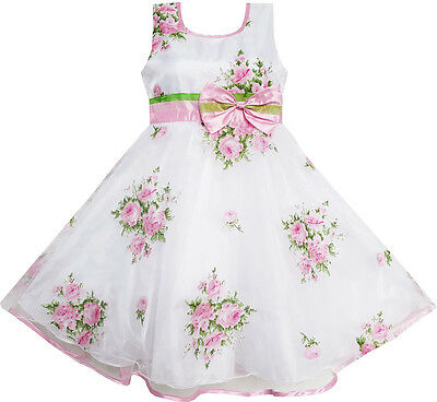 Flower Girl Dress Pink Flower Wedding White Princess Unique Bow Size 4-12 Formal