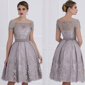 Silver-Gray-Mother-Of-the-Bride-Dresses-Cocktail-Gown-Knee-Length-Women-039-s-Dress