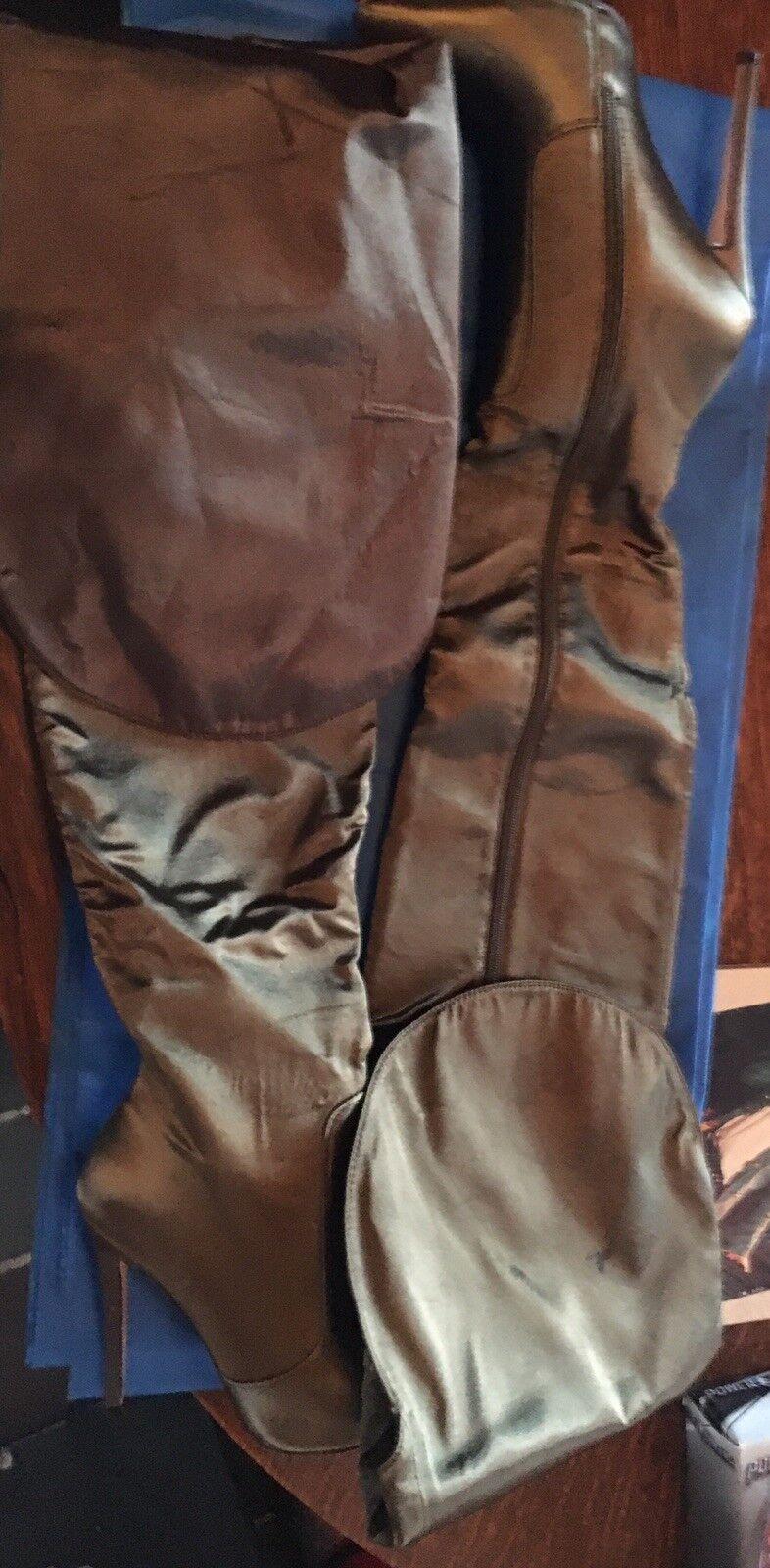 Simmi London Taille EU 37 UK 4 US 6 Esme Khaki Satin Pointed Thigh High bottes Pics