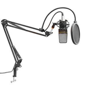 Kleine-360-Einstellbarer-Mikrofon-Boom-Arm-Swivel-Tisch-Federung-Stativ-C2