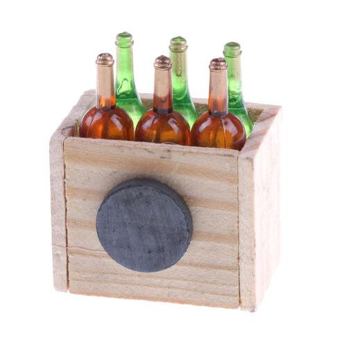 6 botellas de jugo de vino con de Madera en Miniatura Cocina Casa De Muñecas De Juguete De Bebida Regalo 、 Pop