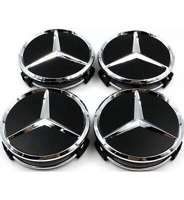 4x Blue Wheel Centre Hup Cap for Mercedes-Benz 60mm outer 55 mm clips diameter