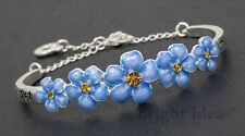 Equilibrium 69157 - PRETTY FORGET ME NOT FLOWER SILVER PLATED BRACELET - Love