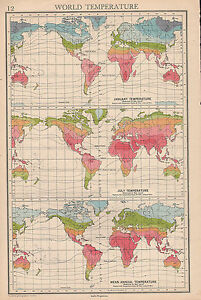 1942 MAP ~ WORLD TEMPERATURE ~ JANUARY & JULY MEAN ANNUAL | eBay