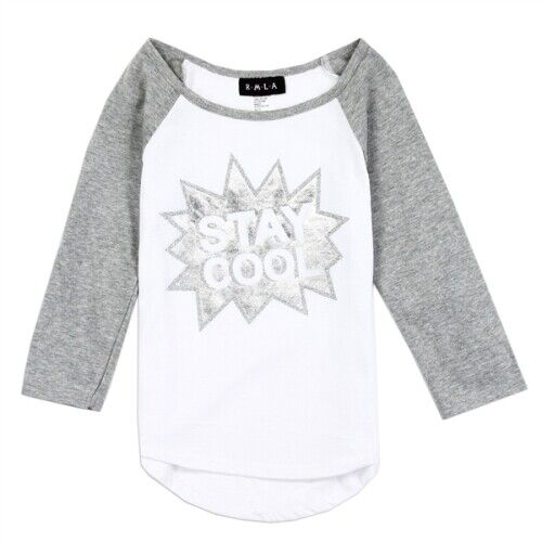 """Size 4 5 6X 6 NWT Girls Clothes Sparkle Long Sleeve /""""Stay Cool/"""" Jersey"""