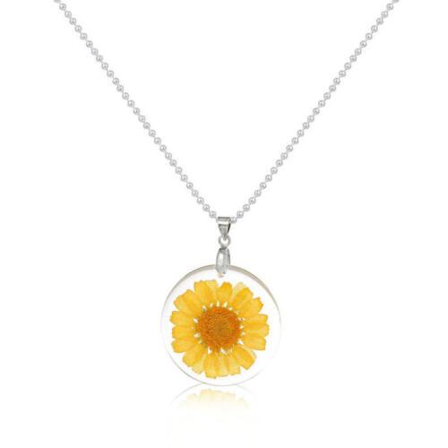 Handmade Boho Flower Resin Dry Margherita Della Necklace Ball Silver Chain