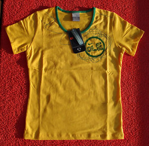 Original-NIKE-Brasil-Lady-TOP-in-Gelb-Gruen-WM-Brazil-Oberteil-T-Shirt-L-NEU