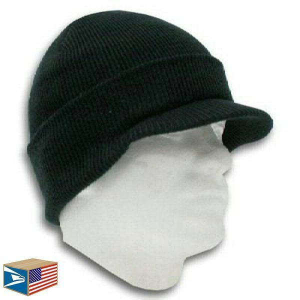 Buy Double Layer Knit Black Beanie Hat Visor Brim Cuff Ribbed Jeep Cap  Winter Unisex online  2c2b291c60a
