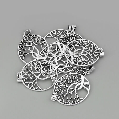 3Pcs Large Antique Silver Oval Hollow Tree Life Charms Jewelry Pendant 54*69mm