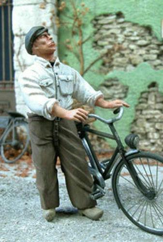 1//35 échelle Civil Holding vélo non-inclus Vélo civil tenant une bicyclette