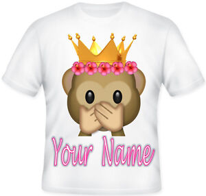 TOP Girls Kids Personalised Emoji Rainbow Flower Crown T Shirt Great Gift Idea
