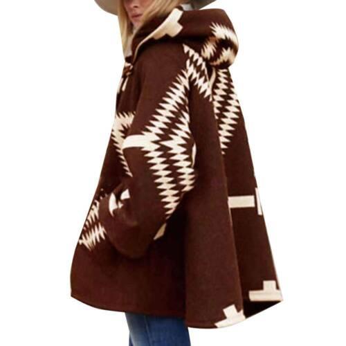 Winter Women Hooded Cloak Cape Coat Loose Long Sleeve Poncho Jacket Outwear Tops