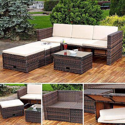 Polyrattan Sitzmöbel Set Sofa Tisch 2 Hocker braun Lounge Gartenset Rattanmöbel