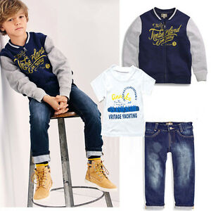 76191f03f 3PCS Toddler Infant Baby Boys Coat+T-Shirt+Denim Pants Kids sports ...