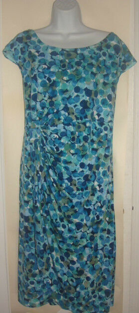 CONNECTED WOMAN Multi-Farbe Geometric Print Cap Sleeve Swoop Neck Dress 20W NWT