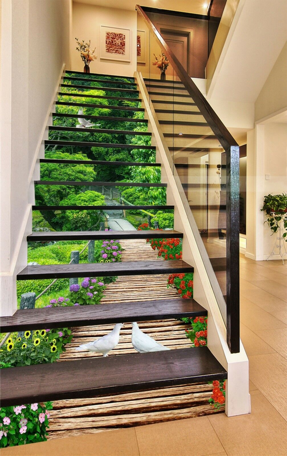 3D Dove vert Trees Stair Risers Decoration Photo Mural Vinyl Decal Wallpaper CA