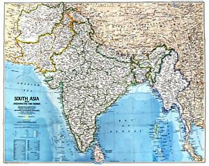 Map Of S Asia.Details About 1984 12 Peoples Of South Asia National Geographic Map 1984 Poster School