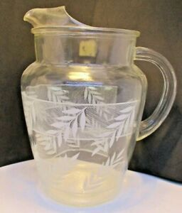 Mid-Century-Glass-Pitcher-With-White-Leaves-Vintage