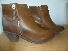 "OFFICE SIZE 42 UK8 LADIES BROWN LEATHER ANKLE BOOTS LEATHER LINED 2.5"" HEEL"