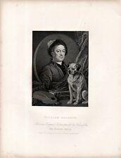 Stampa antica WILLIAM HOGARTH autoritratto con tavolozza e cane 1840 Old print