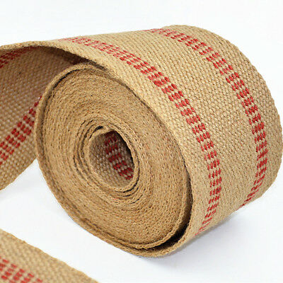 Burlap 3.5 Inches X 10 Yards-Natural W//Black Stripes Upholstery//Craft Jute Webbing