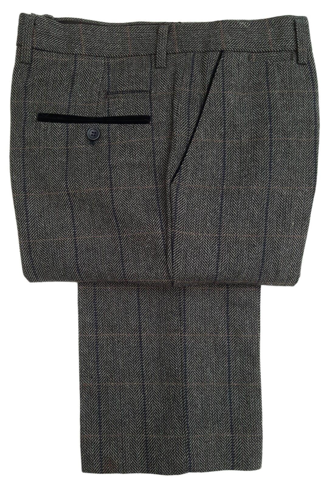 Herren Marc Darcy Tweed karierte Hose Style DX7 - dunkelgrau