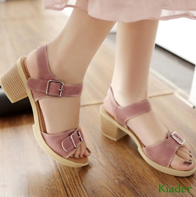 Open Toe Womens Buckle Sandals Slingbacks Summer Block Heels Ankle Strap shoes