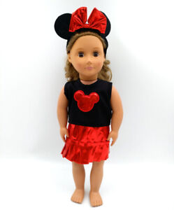 Fit For 18/'/' American Girl Disney Doll Clothes Ear Headband Minnie Mouse Outfit