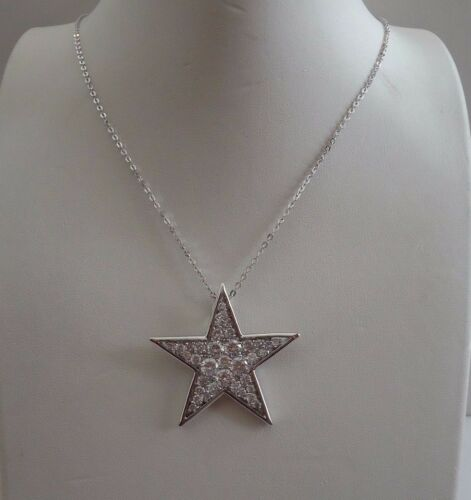 LARGE STAR NECKLACE PENDANT W// LAB DIAMONDS// 925 STERLING SILVER 18/'/' CHAIN