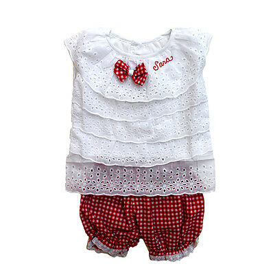 GIRLS SHORT SET Lace Top /& Gingham PERSONALIZED FREE Toddler Girl