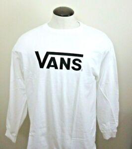 Vans-Shoes-Mens-Classic-Drop-V-Long-Sleeve-Cotton-Logo-T-shirt-White-Black-NWT