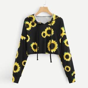 Womens Letters Long Sleeve Hoodie Sweatshirt Hooded Pullover Tops Blouse H-M