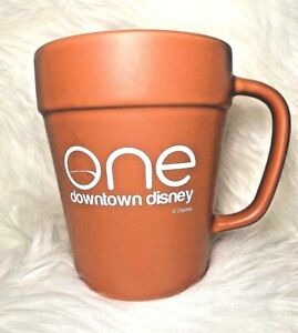 Downtown-Disney-ONE-Coffee-Cup-Mug-Flower-Pot-Clay-Shape-16-Oz-3D-Walt-Disney
