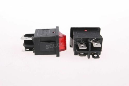 Red Light Illuminated DPST ON-OFF Snap in Boat Rocker Switch 6A//250V 10A//125V A