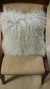 "Handmade Mongolian Fur 16""x16"" Square Silver Pillow Cushion Case & fabric back"