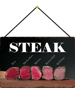 Steak-Rare-Well-Done-Medium-Shield-with-Cord-Tin-Sign-7-7-8x11-13-16in