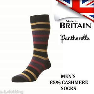 85 Pantherella Med Navy Stripe nylon e Uomo Nuovo Cashmere Large Sock FFArxEqw