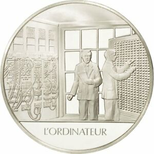 490071-France-Medal-L-039-ordinateur-Sciences-amp-Technologies-FDC-Argent