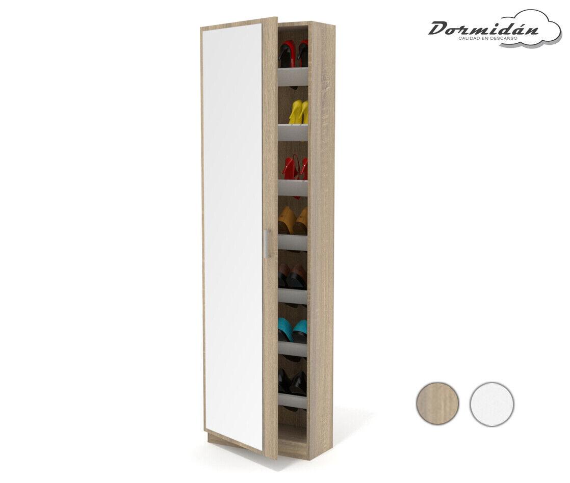 s l1600 - Mueble zapatero, una puerta con espejo, cristal, armario, Mayor Profundidad