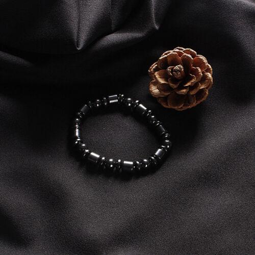 Magnetic Hematite Black Round Beads Gem Stretch Therapy Bracelet Unisex