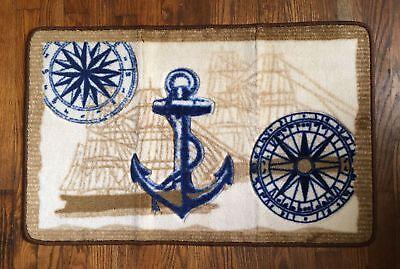 Nautical Ocean Anchor Ships Compass, Nautical Bathroom Rugs