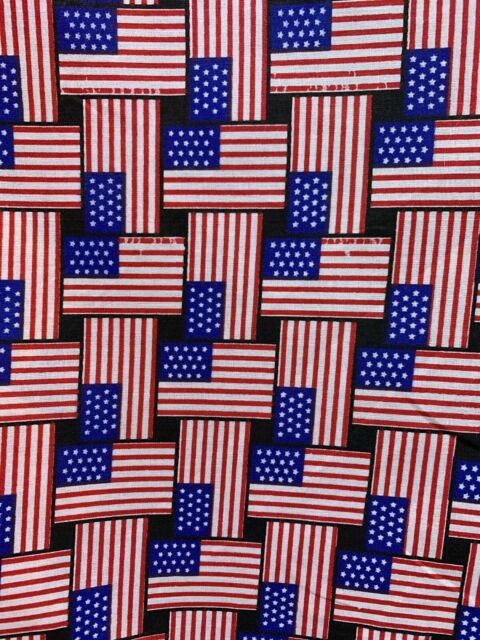 RED WHITE BLUE AMERICAN FLAG PRINTED 100% COTTON FABRIC (60 in.) Sold BTY