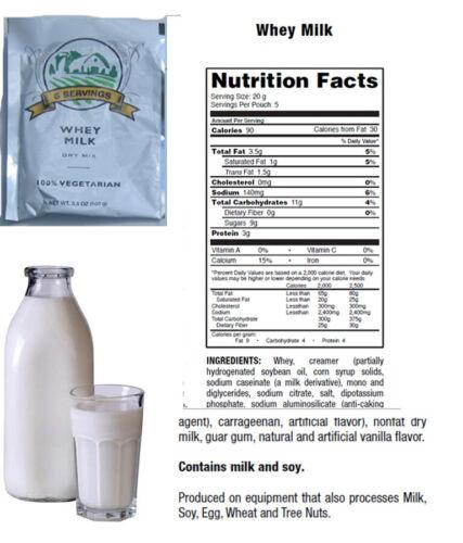 Emergency Survival Food Lactosérum Lait 5-Serving Pochette 100/% Vegetarian Best par 2033