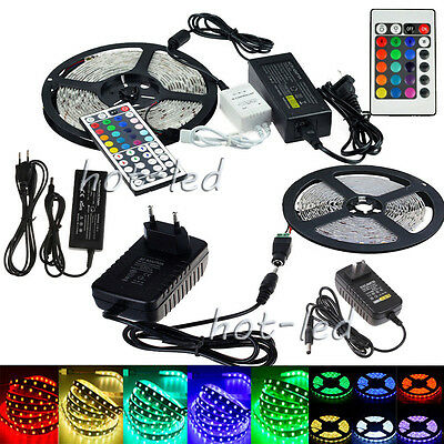 5M 3528 5050 RGB 300 SMD Flexible LED Strip Light 44key Remote 12V Power Supply