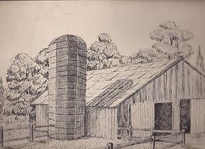 Dennis Parravano Barn & Silo Ink Drawing Rustic 10 x 13 1/2